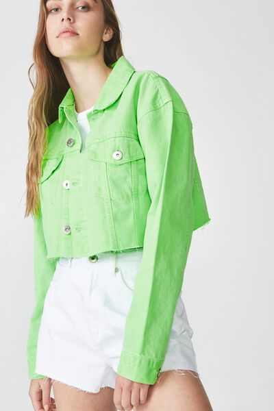 Crop Denim Jacket, NEON GREEN