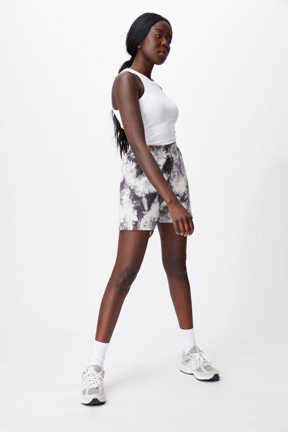 Hype Fleece Short, BLACK/WHITE TIE DYE
