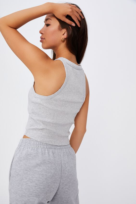 Racer Front Tank, GREY MARLE