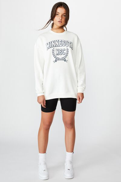 Oversized Graphic Sweater, WHITE