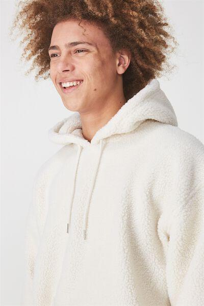 Teddy Fleece Hoody, OFF WHITE