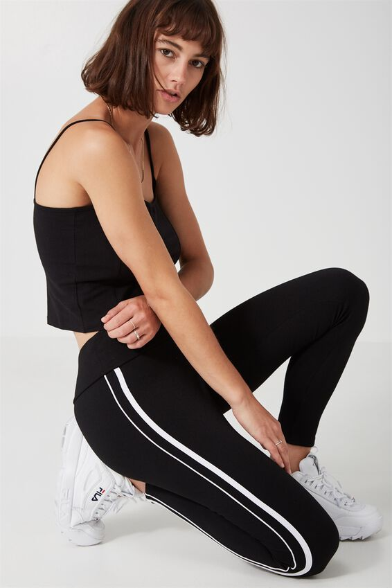 Stripe Legging, BLACK/WHITE