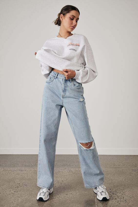 Oversized Graphic Crew, SILVER MARLE/TAKE IT EASY