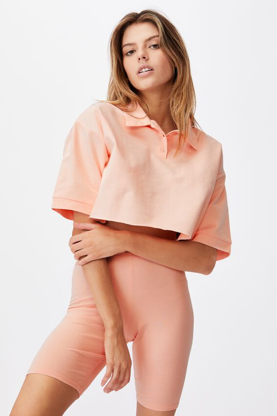 Short Sleeve Crop Polo Top, VINTAGE SEASHELL
