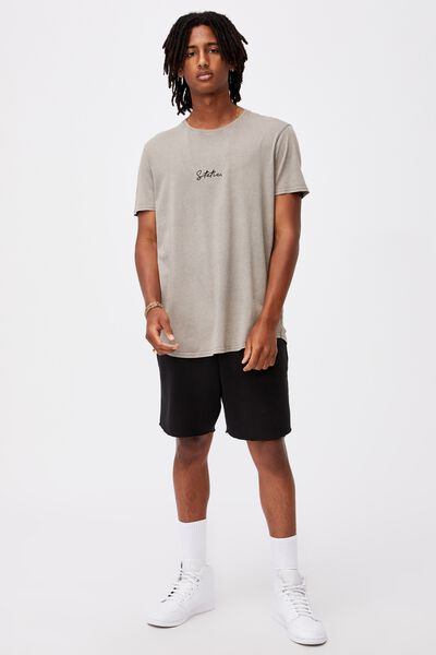 Curved Graphic T Shirt, WASHED GREY/STATIC