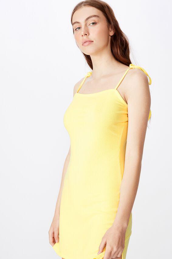 Side Split Dress, LEMON MERINGUE