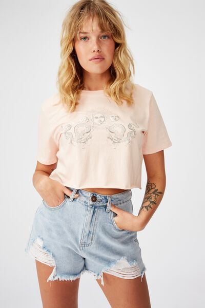 Short Sleeve Raw Edge Crop T Shirt, SUN MOON DRAGON/VINTAGE SEASHELL