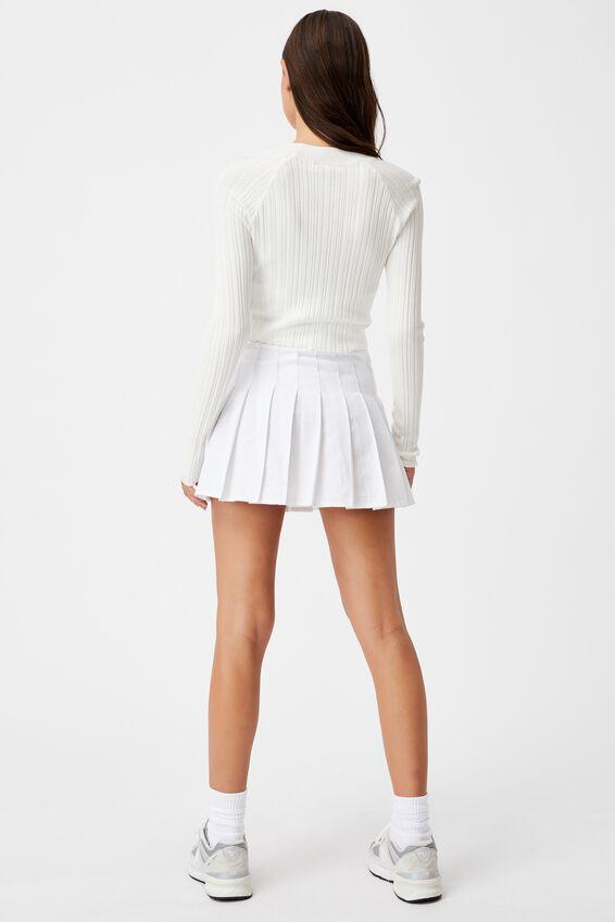 Variegated Rib Knit Long Sleeve Top, WHITE