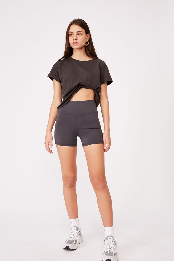 Cheeky Elevated High Waisted Bike Short, ASPHALT