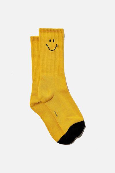 License Retro Rib Socks, LCN SMI SMILEY YELLOW