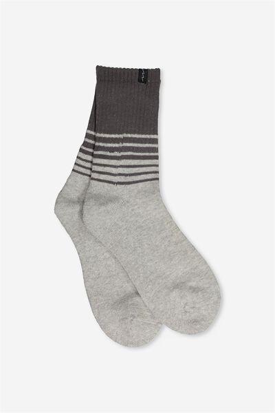 Retro Sport Sock, GRADIENT STRIPE GREY