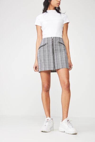 Tartan Skirt, BLACK/WHITE TARTAN
