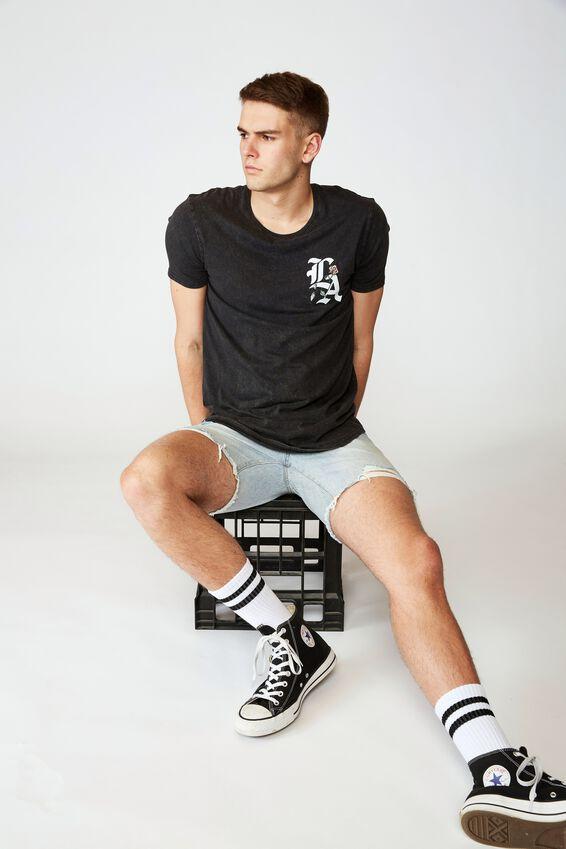 Curved Graphic T Shirt, WASHED BLACK/LA ROSE