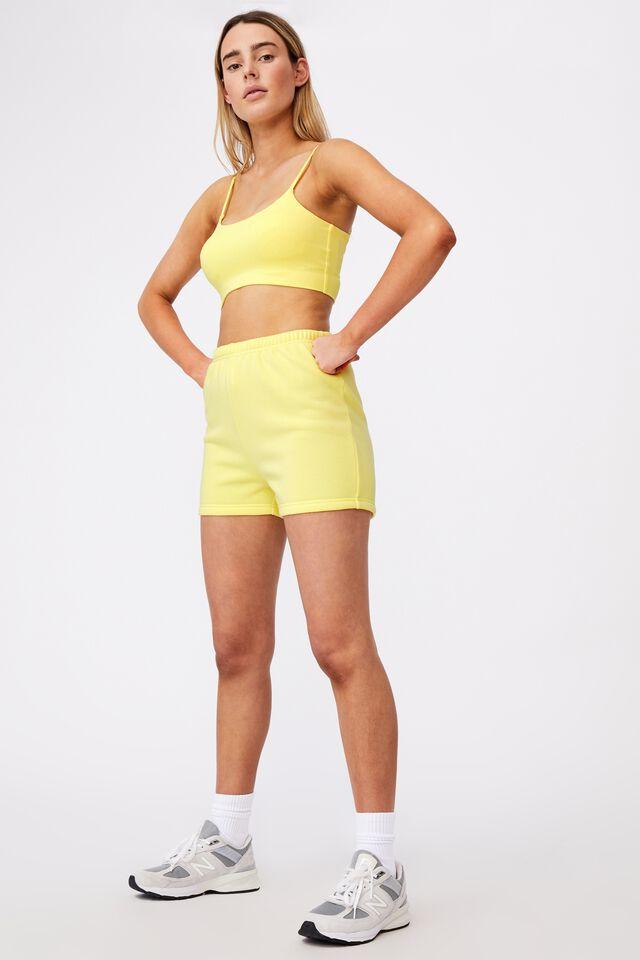 Super Slim Fitted Fleece Short, LIMELIGHT