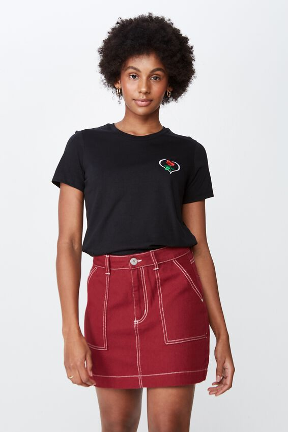 Patch Pocket Denim Skirt, CABERNET