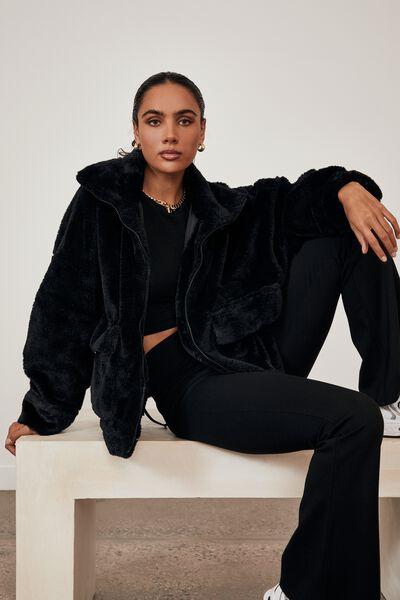 Utility Fur Teddy Jacket, BLACK
