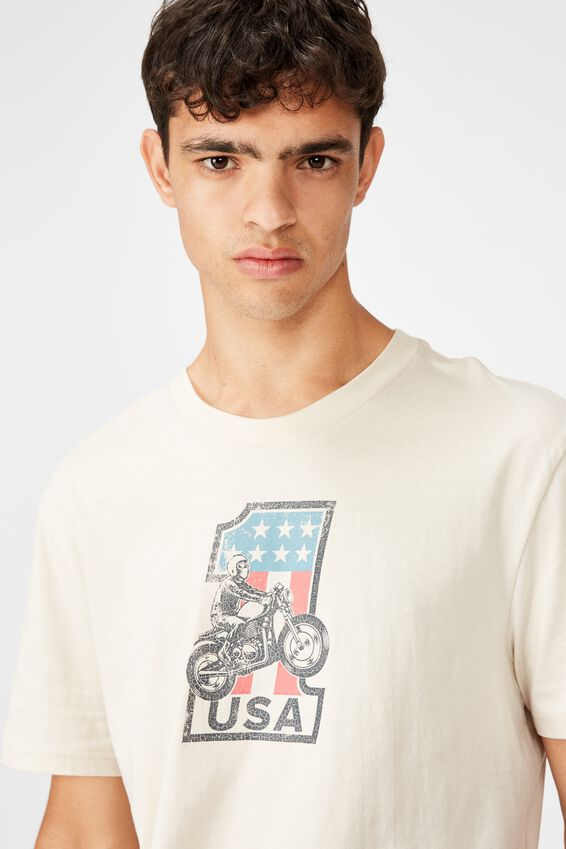 Regular Graphic T Shirt, IVORY/NUMBER ONE