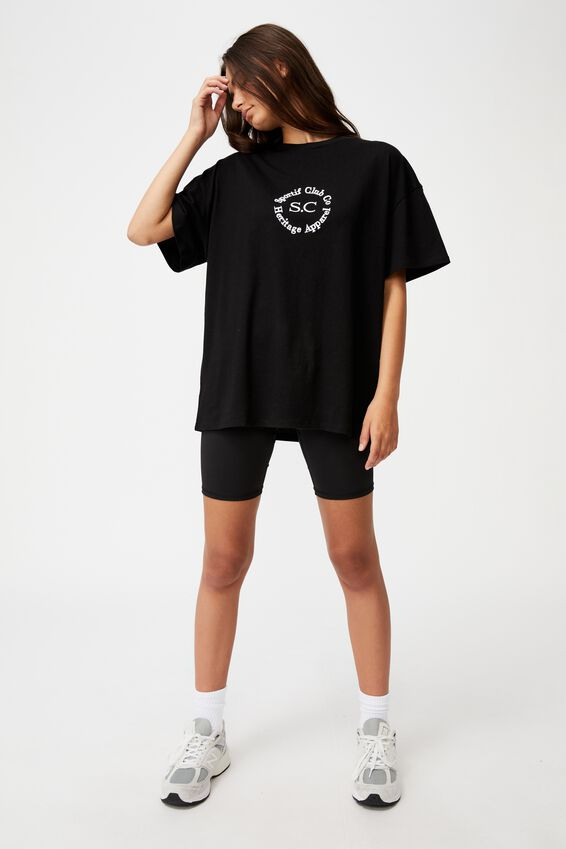 Super Relaxed Graphic Tee, BLACK/SPORTIF HERTIAGE CLUB