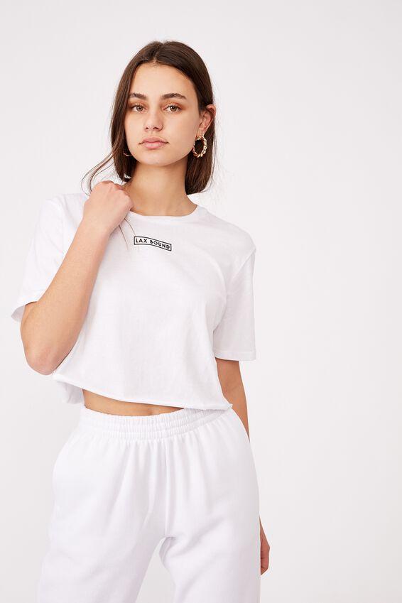 Short Sleeve Raw Edge Crop Graphic T Shirt, WASHED IVORY/LAX BOUND