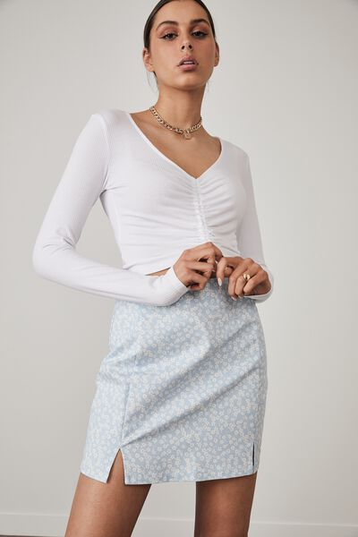 Toggle Front Long Sleeve Top, WHITE