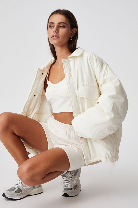 Oversized Padded Jacket, IVORY