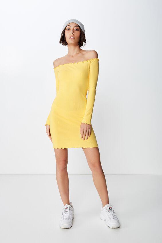 Rib Off Shoulder Dress, GOLDEN LEMON