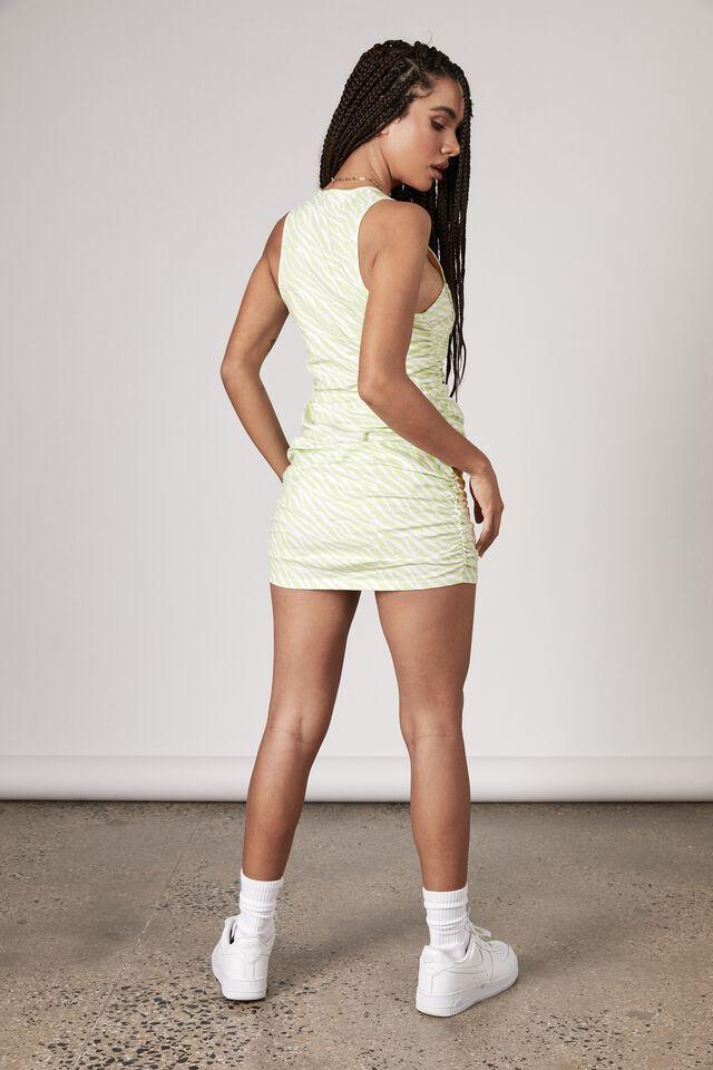 Ruched V Neck Sleeveless Dress, PISTACHIO/ZEBRA