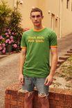 Slim Ringer Graphic  T Shirt, FAIRWAY GREEN/YEAH NAH