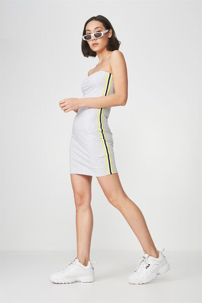 Strapless Stretch Mini Dress, GREY MARLE_YELLOW TAPE