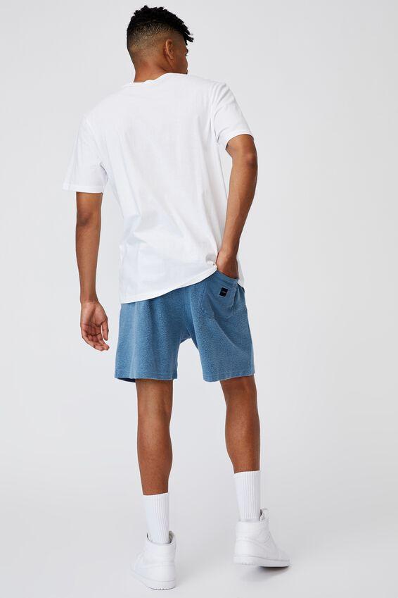 Reverse Fleece Track Short, WASHED CHALK BLUE