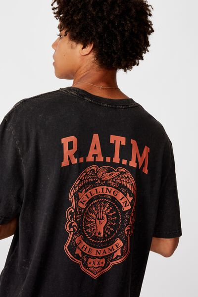 Regular License T Shirt, WASHED BLACK/RATM POLICE BADGE