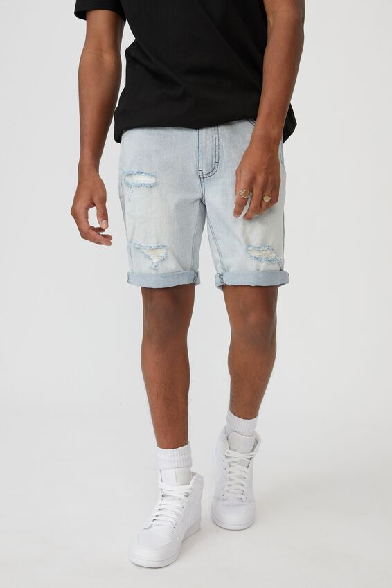 Slim Cut Denim Short, PALE BLUE