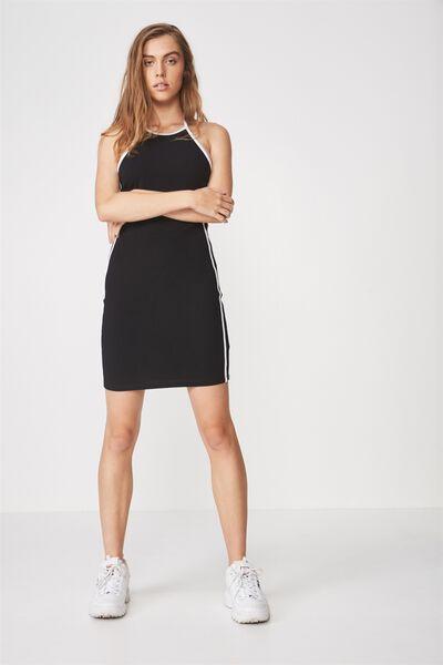 Cut Away Mini Dress, BLACK_WHITE TAPE