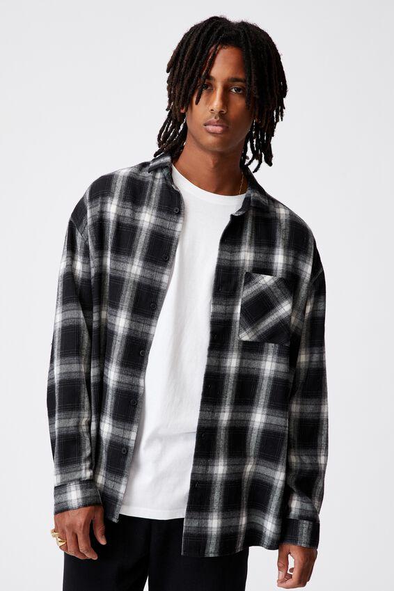 Oversize Button Up Shirt, BLACK CHECK