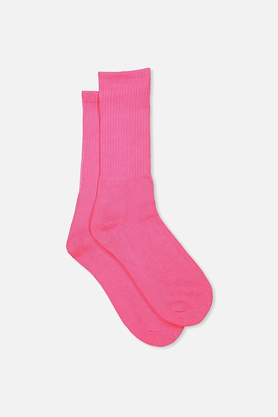 Retro Ribbed Socks, SLD PINK