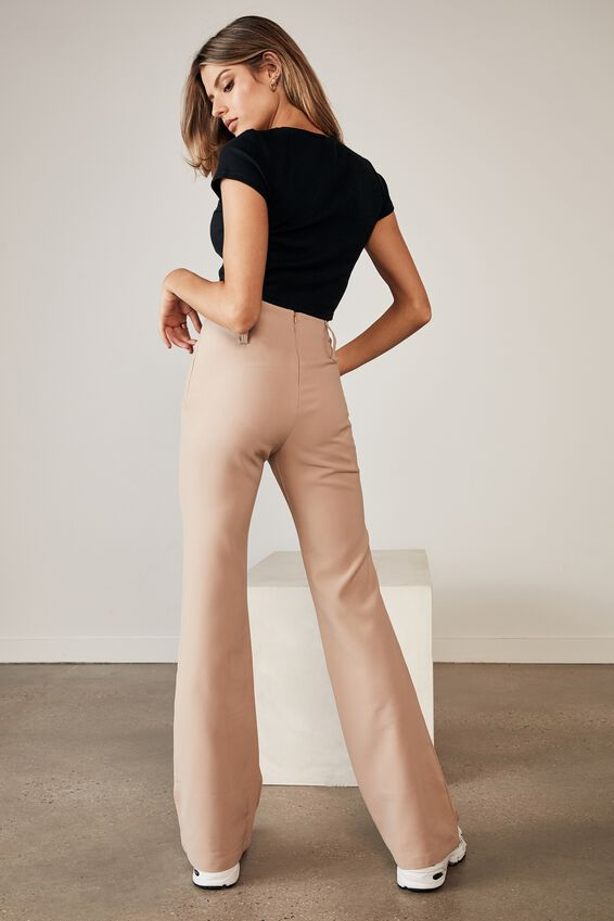 High Waisted Flare Pant, NATURAL