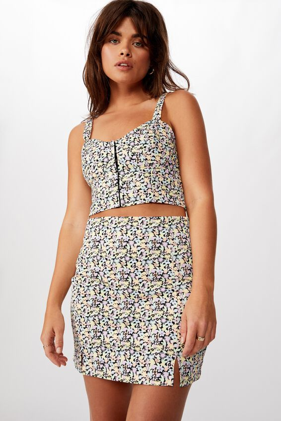 Double Split Mini Skirt, MALIA MIXED FLORAL