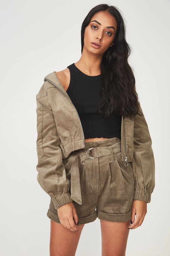 Cord Hooded Bomber Jacket, SAGE