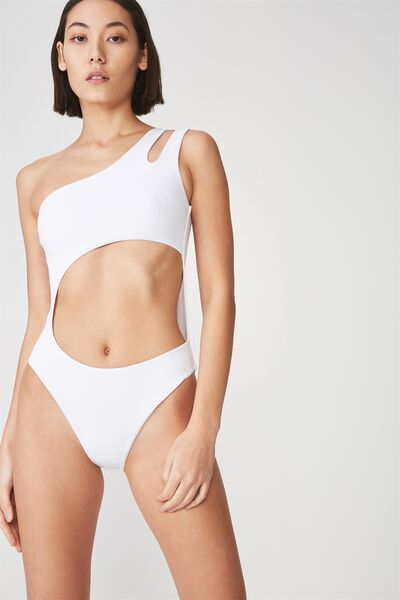 Cut Out One Piece Swimsuit, WHITE