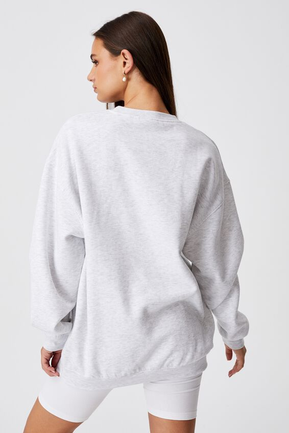 Oversized Graphic Crew, SILVER MARLE/SLCU