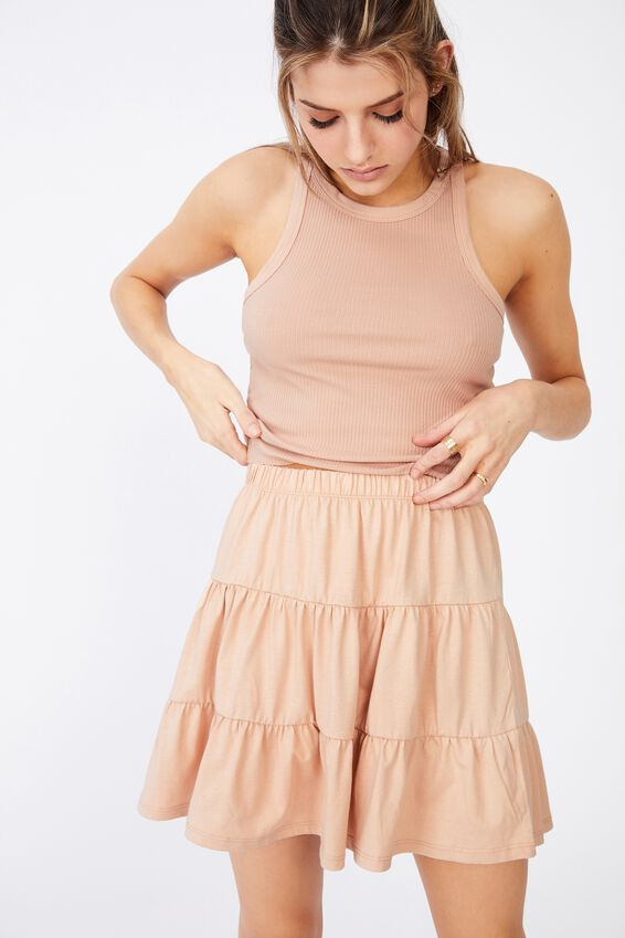 Jersey Tiered Skirt, RUGBY TAN
