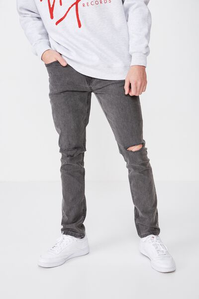 Skinny Leg Denim Jean, GREY