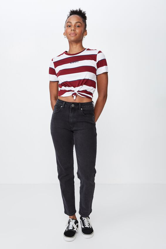Basic Graphic T Shirt, DALYCE STRIPE/EMBROIDERY 2