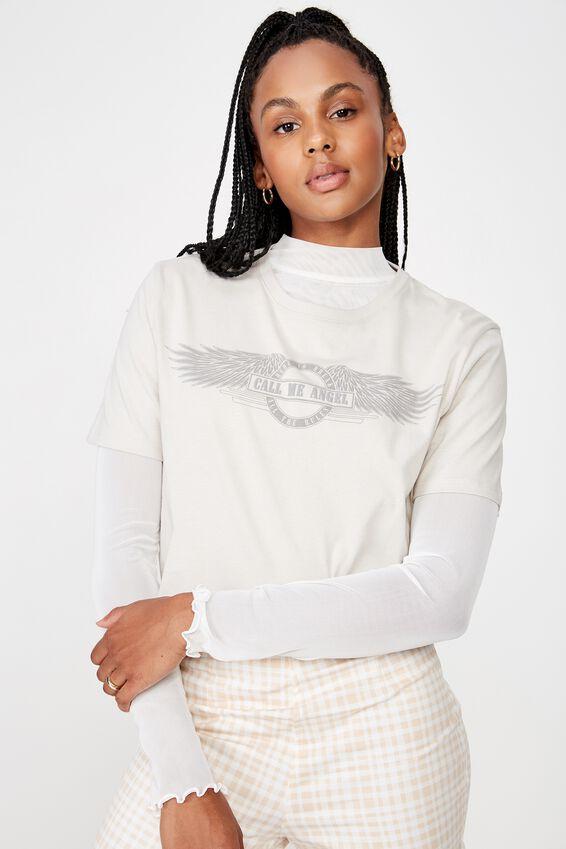 Short Sleeve Raw Edge Crop T Shirt, GRAY VIOLET/CALL ME ANGEL