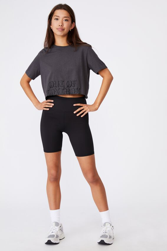 Short Sleeve Raw Edge Crop Graphic T Shirt, ASPHALT/OUT OF CONTROL