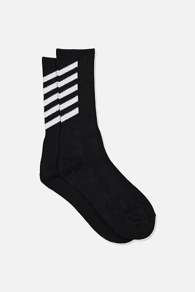 Retro Ribbed Socks, VEES_BLACK&WHITE