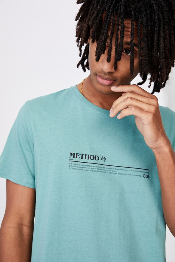 Curved Graphic T Shirt, WASHED TEAL/METHOD