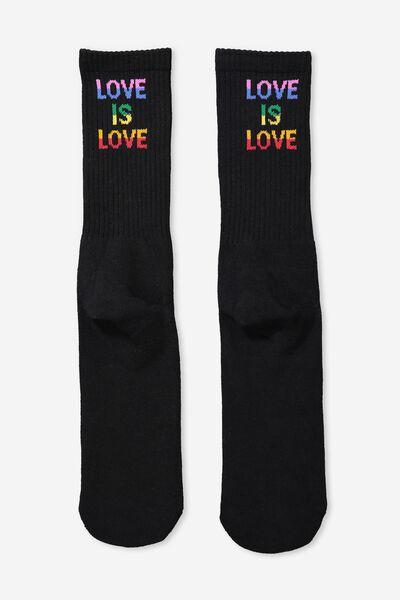 Retro Ribbed Socks, LOVE IS _BLACK