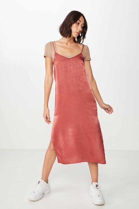 Satin Midi Dress, DARK ROSE