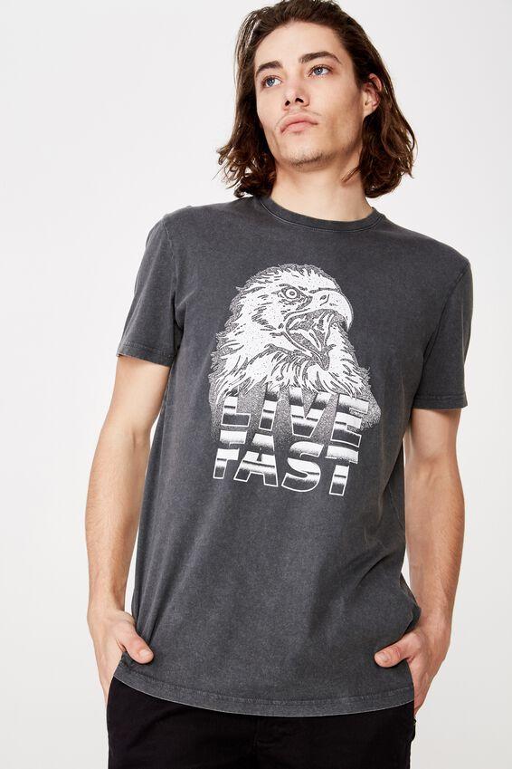 Slim Graphic T Shirt, WASHED ASPHALT/LIVE FAST